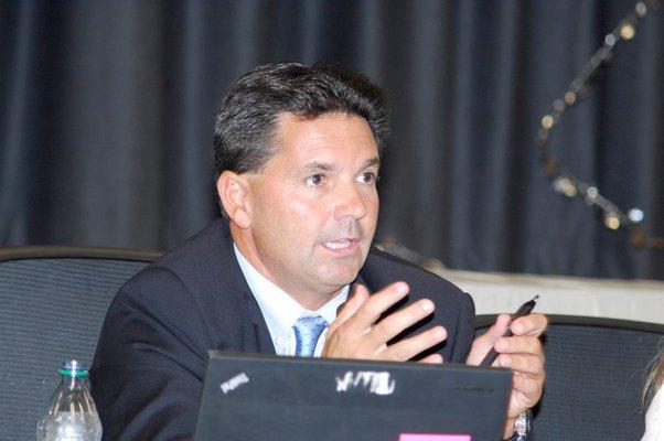 Southamptopn Schools Superintendent Dr. Scott Farina addresses the crowd at the meeting.  DANA SHAW
