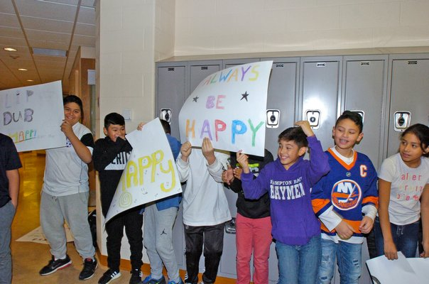 Students at Hampton Bays Middle School during the filming.  DANA SHAW
