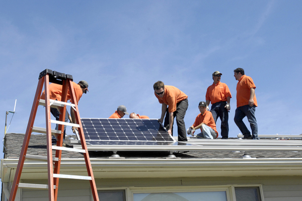 Solar panels were installed on the administration building at Bridgehampton School on Friday.  DANA SHAW