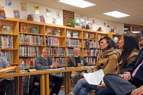 Tuckahoe Superintendent Chris Dyer, board members and parents at Monday night's forum.  DANA SHAW
