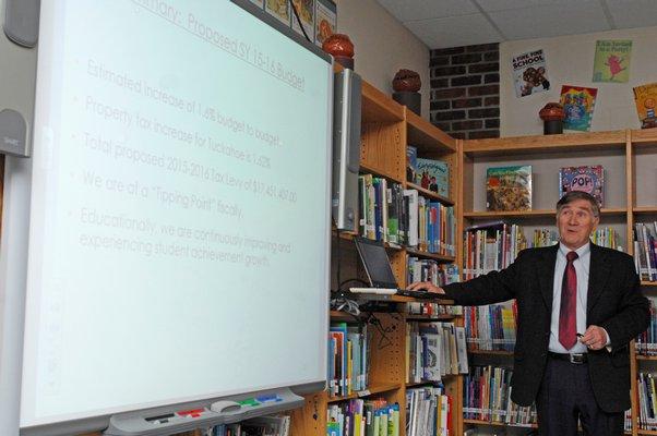 Tuckahoe School Superintendent Chris Dyer at the forum on Monday.  DANA SHAW