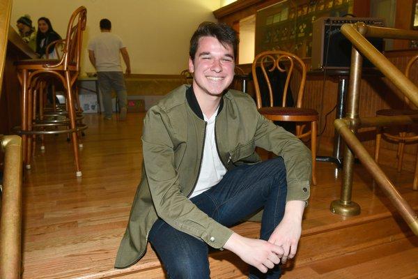 Christiaan Padavan at the viewing party at the Knights of Columbus in Hampton Bays on Monday night. DANA SHAW