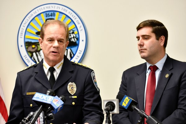 Southampton Town Police Chief Steven E. Skrynecki and Suffolk County District Attorney Timothy D. Sini at a press conference following the arraignment of Robert Weis.  DANA SHAW