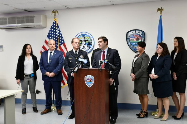 Suffolk County District Attorney Timothy D. Sini at a press conference at the Southampton Town Police Headquarters in Hampton Bays on Friday.  DANA SHAW