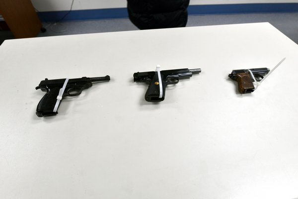 A few of the weapons recovered.   DANA SHAW
