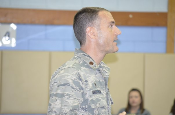 Major Stewart Morrison presents to students at the Remsenburg-Speonk Elementary School about life as part of the ANG's 106th Rescue Wing. BY ERIN MCKINLEY