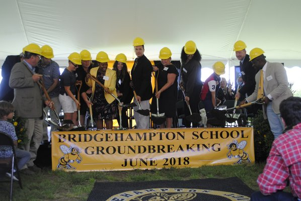A groundbreaking celebration for the Bridgehampton School expansion project was held on Friday afternoon. AMANDA BERNOCCO