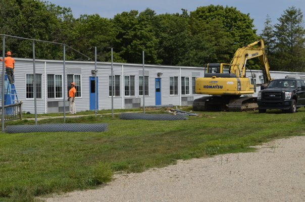 The portables on the Eastport Elementary School property will be demolished Monday morning. ALEXA GORMAN