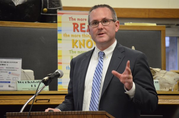 Hampton Bays Superintendent Lars Clemensen presents the district budget on Tuesday night. BY ERIN MCKINLEY