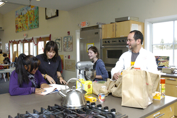 Mequantash Evans, Esme Ashley-White, Katya Wolosoff and Arjun Achuchan in Jeff's Kitchen at the Hayground School.