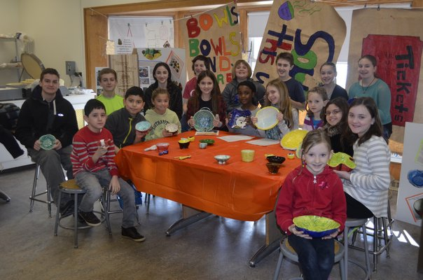 Tuckahoe students made bowls and spoons for an upcoming fundraiser to raise awareness that there are hungry people in the community. BY ERIN MCKINLEY