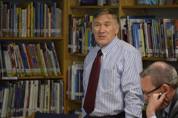 Tuckahoe Superintendent Chris Dyer at the meeting to discuss a potential regional high school. BY ERIN MCKINLEY