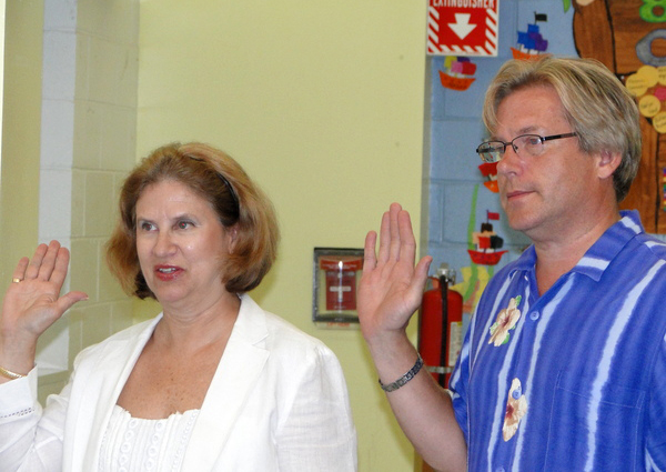 Southampton School District Clerk Mary Pontieri and Dr. Nicholas Dyno, assistant superintendent for instruction and acting high school principal.