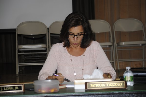 Patricia Tuzzolo, president of the East Quogue Board of Education, during a special meeting on Tuesday afternoon. AMANDA BERNOCCO