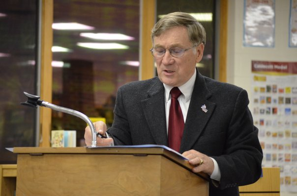 Tuckahoe Superintendent Chris Dyer presents the preliminary budget. BY ERIN MCKINLEY