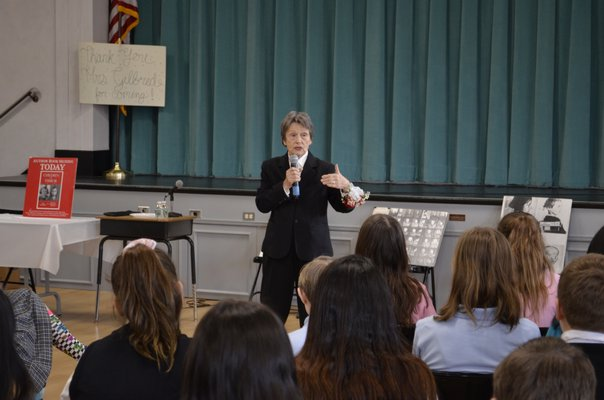 Bozenna Urbanowicz Gilbride, a Holocaust survivor and local author living in Southampton, speaking to students at Our Lady of the Hamptons School in Southampton on January 29 about her experience living through the Holocaust. ANISAH ABDULLAH