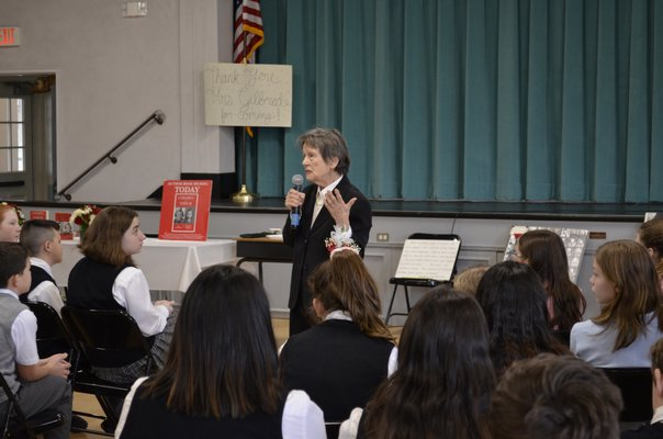Holocaust survivor Bozenna Urbanowicz Gilbride visited Our Lady of the Hamptons School on January 29, two days after International Holocaust Remembrance Day. ANISAH ABDULLAH