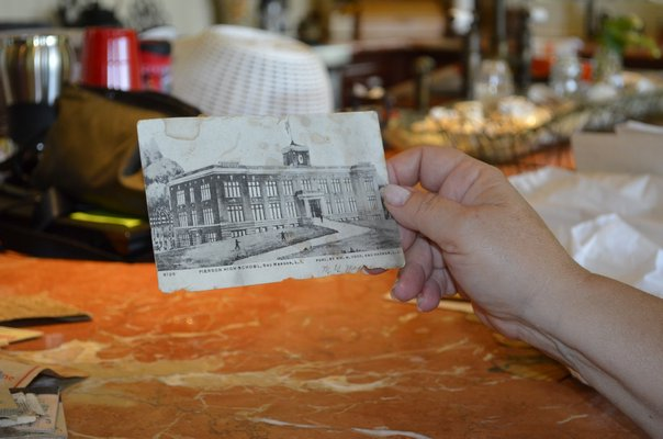 An old photo of Sag Harbor Elementary School was among the items found in Rose Nigro's floorboards. ALEXA GORMAN