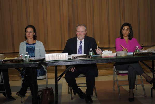 The East Quogue Board of Education during Tuesday night's meeting. AMANDA BERNOCCO