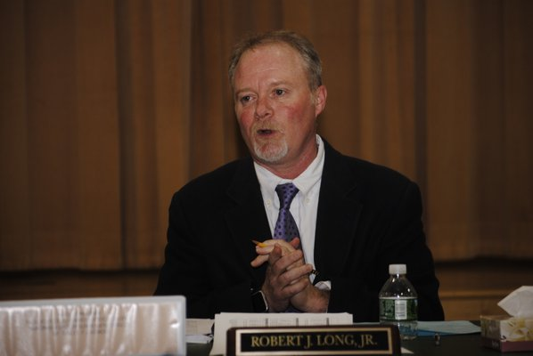 Superintendent Robert Long during the East Quogue Board of Education meeting on Tuesday night. AMANDA BERNOCCO