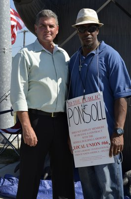 Don Grande, left, bricklayer business agent for Long Island local workers and Daryl Harris, organizer for the Local 66 union. ALEXA GORMAN