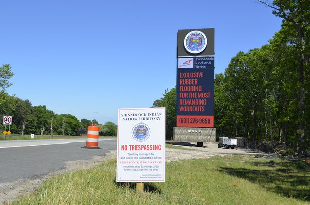 The Shinnecock billboard on the south side of Sunrise Highway on Thursday, June 6. It has been operational since the day the temporary restraining order was issued almost two weeks ago. ANISAH ABDULLAH