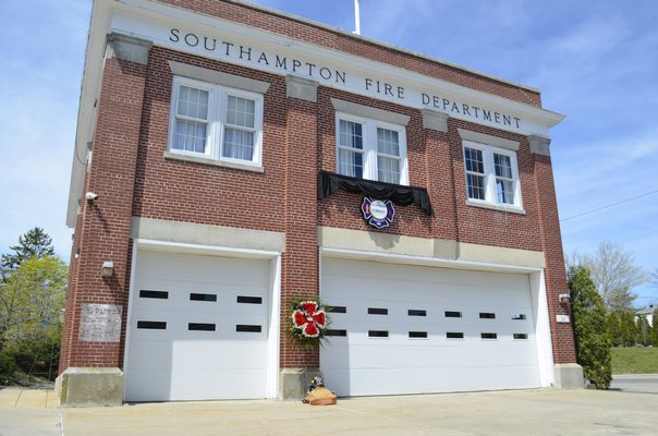 The Southampton Fire Department displayed Edward Corrigan's firefighting gear Thursday morning in his memory. ANISAH ABDULLAH