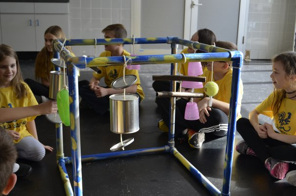 Remsenburg-Speonk students made puppy playground sets out of PVC pipe and recycled household materials and donated them to Bideawee in Westhampton. ANISAH ABDULLAH