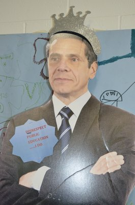 A cutout of Governor Andrew M. Cuomo was brought to a meeting on Common Core standards at East Quogue Elementary School on Monday. ALEXA GORMAN