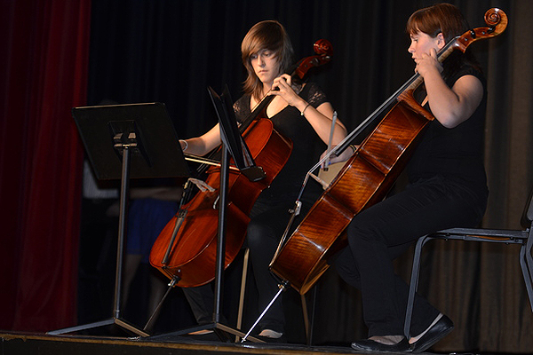Spanish exchange students Elena Manrique and Olga Pastor on cello during the Spain Exchange Concert on Saturday. SHAYE WEAVER