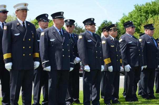 Members of the Quogue Fire Department at the Memorial Day service. Alexa Gorman