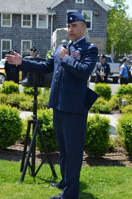 Lt. Col. Robert Siebelts, Commander of the 106th Maintenance Squadron, 106th Rescue Wing based in Westhampton Beach, spoke at the Quogue Memorial Day service. Alexa Gorman