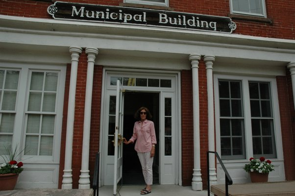 Sandra Schroeder in front of the Sag Harbor Municipal Building where her office is located.