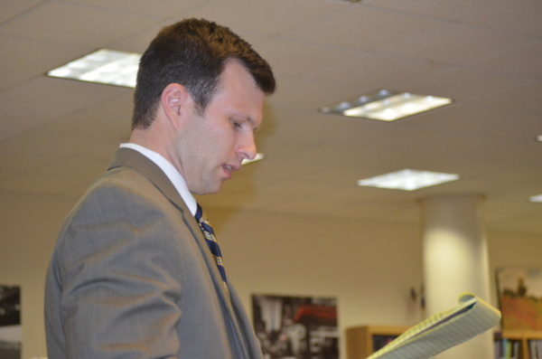 Westhampton High School Principal Christopher Herr presents his proposed building budget to the Board. ERIN MCKINLEY