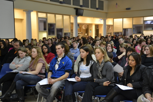 Concerned parents, teachers and students attend Wednesday night's Eastport South Manor Board of Education Meeting. LAURA COOPER