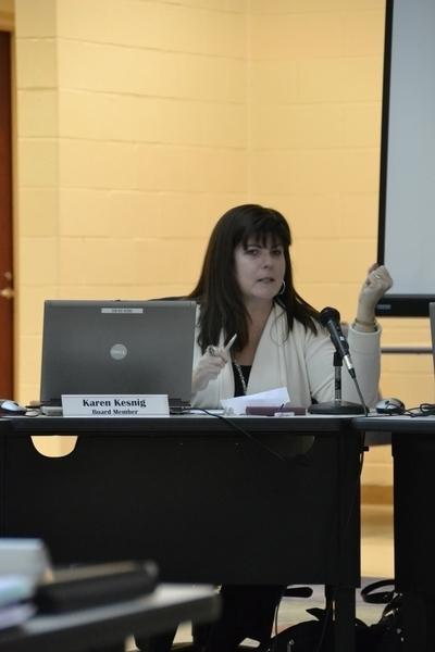 School Board member Karen Kesnig addresse