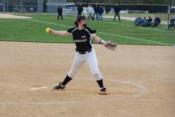 Sophomore Angela Acampora started in the circle for Westhampton Beach in its playoff opener at Sayville on Tuesday afternoon. DREW BUDD