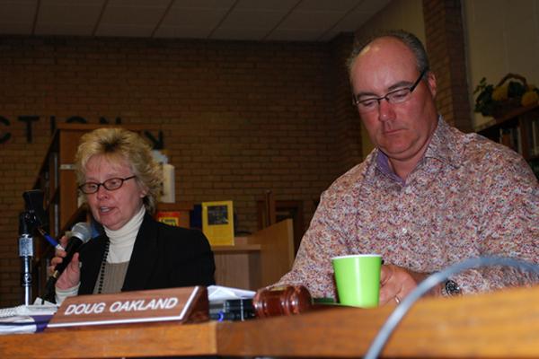 Hampton Bays Superintendent Joanne Loewenthal and School Board President Doug Oakland.