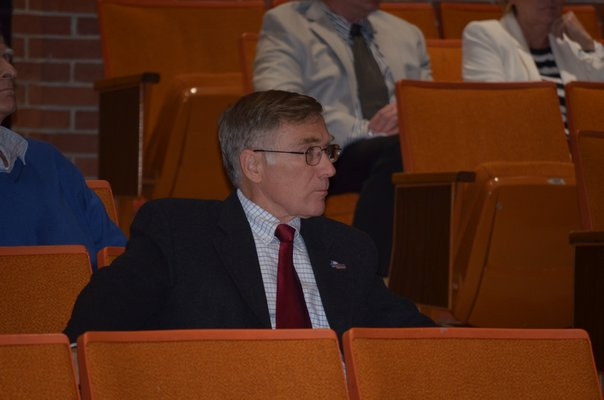 Tuckahoe Superintendent Chris Dyer at the merger forum at Southampton High School on Wednesday night. BY ERIN MCKINLEY