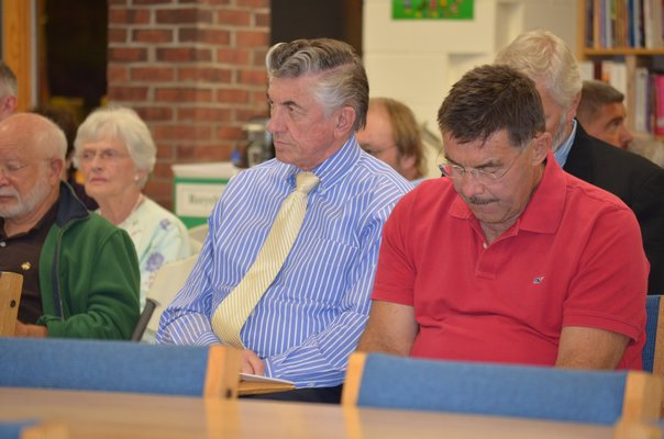 Hampton Bays School District Business Administrator Larry Luce presents the district's 2011-2012 budget at a special meeting of the school board on Thursday, April 14. The budget was adopted shortly after.