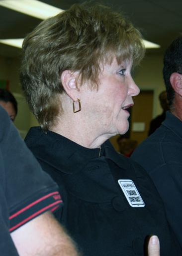 Teachers Association of Sag Harbor president Eileen Kochanasz at the School Board meeting Monday. OLIVER PETERSON