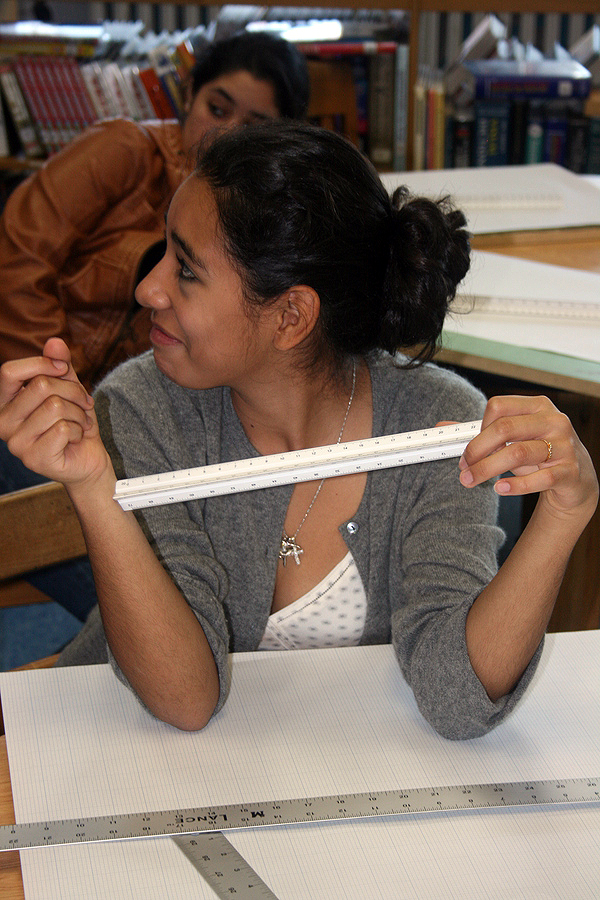 Angelica Uribe, a freshman, learns how to use an engineering ruler in a class at Bridgehampton High School.
