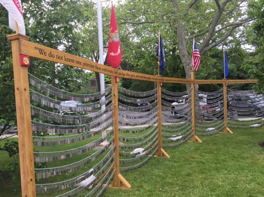 "A ""wall"" of dog tags from fallen soldiers that will be set up near the Shelter Island American Legion to honor members of the military who lost their lives, including Shelter Island's own Joey Theinert."
