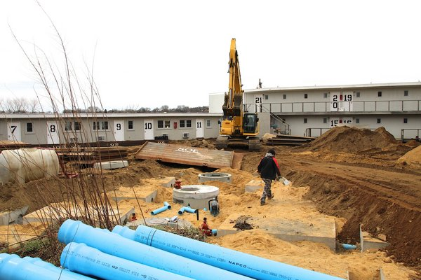 Work has been proceeding apace in recent weeks on the Surf Lodge's new septic system. KRYIL BROMLEY