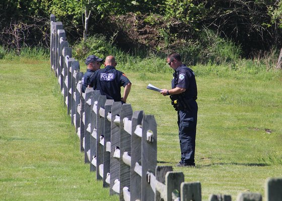 Police officers and detectives were on the scene at Kirk Park on Thursday after a 38-year-old man was found unconscious in Montauk. He has been confirmed dead by Suffolk County Police Homicide Squad detectives. Detectives believe the cause of death to be criminal in nature and are investigating the death as a murder.  KYRIL BROMLEY