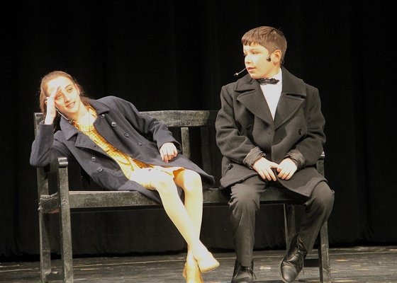 """Emma McGrory, left, and Luke Baron rehearsing scenes for the Springs School's production of """"Annie Jr."""" KYRIL BROMLEY"""