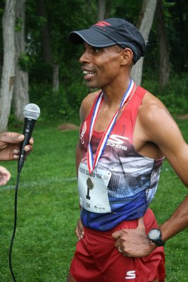 Olympic silver medalist and 2014 Boston Marathon winner Meb Keflezighi has been a regular at the Shelter Island 10K as well. CAILIN RILEY