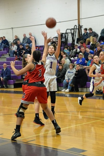 Hampton Bays junior Rebecca Heaney puts up a shot. MICHELLE MALONE