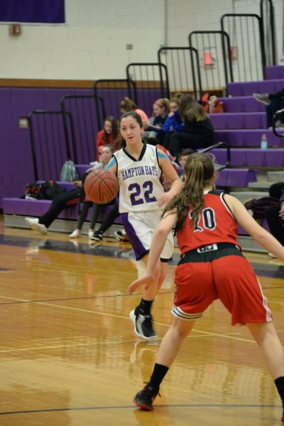 Hampton Bays sophomore Sierra Gaffney brings the ball across midcourt. MICHELLE MALONE