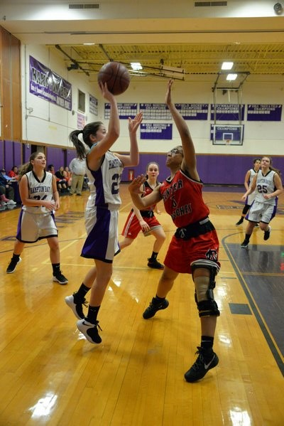 Hampton Bays sophomore Sierra Gaffney puts up a shot. MICHELLE MALONE